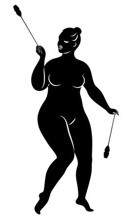 Gymnastics Silhouette of a girl with maces. The woman is overweight, a large body. The girl is full figured. Vector illustration Stok Fotoğraf - 137554945