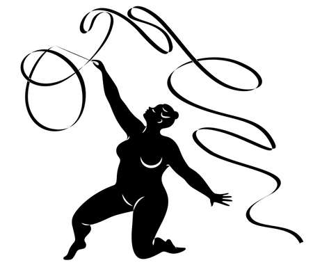 Gymnastics. Silhouette of a girl with a ribbon. The woman is overweight, a large body. The girl is full figured. Vector illustration