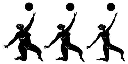 Collection. Silhouette of a cute lady, she is engaged in rhythmic gymnastics with a ball. The woman is overweight and a slender girl athlete. Vector illustration set. Stok Fotoğraf - 137554956