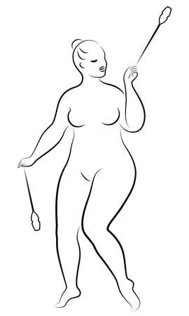 Gymnastics Silhouette of a girl with maces. The woman is overweight, a large body. The girl is full figured. Vector illustration