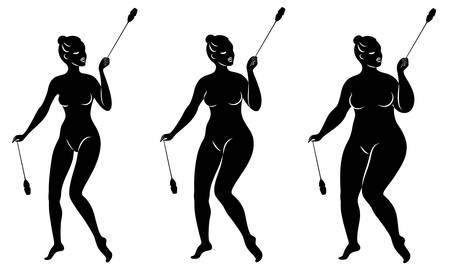 Collection. Silhouette of a cute lady, she does rhythmic gymnastics with clubs. The woman is overweight. Slender girl athlete. Stok Fotoğraf - 137555105