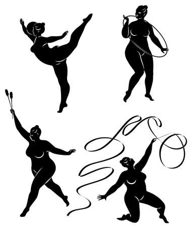 Collection. Gymnastics Silhouette of a girl with a hoop, ribbon, ball, clubs. The woman is overweight, a large body. The girl is a full figure. Set of vector illustrations. Stok Fotoğraf - 137850857