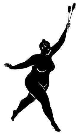 Gymnastics Silhouette of a girl with maces. The woman is overweight, a large body. The girl is full figured. Vector illustration. Stok Fotoğraf - 137850864