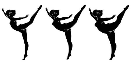 Collection. Silhouette of a cute lady, she is engaged in rhythmic gymnastics with a ball. The woman is overweight and a slender girl athlete. Vector illustration set. Stok Fotoğraf - 137850866