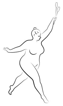 Gymnastics Silhouette of a girl with maces. The woman is overweight, a large body. The girl is full figured. Vector illustration.