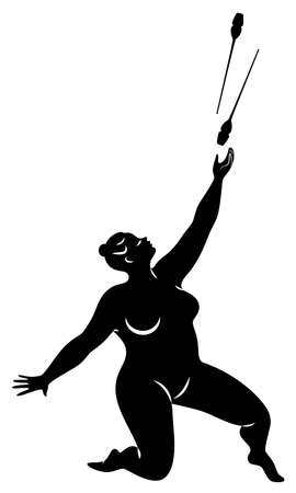 Gymnastics Silhouette of a girl with maces. The woman is overweight, a large body. The girl is full figured. Vector illustration. Stok Fotoğraf - 137850871