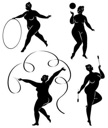 Collection. Gymnastics Silhouette of a girl with a hoop, ribbon, ball, clubs. The woman is overweight, a large body. The girl is a full figure. Set of vector illustrations. Stok Fotoğraf - 138158777
