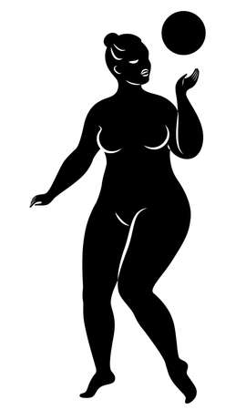 Gymnastics Silhouette of a girl with a ball. The woman is overweight, a large body. The girl is a full figure. Vector illustration Stok Fotoğraf - 138158781