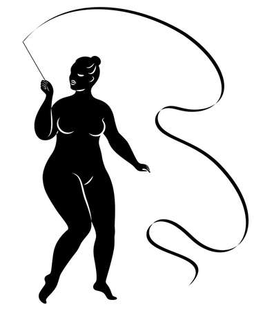 Gymnastics. Silhouette of a girl with a ribbon. The woman is overweight, a large body. The girl is full figured. Vector illustration.