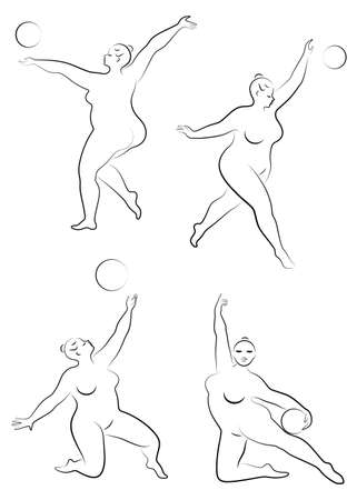 Collection. Gymnastics. Silhouette of a girl with a ball. The woman is overweight, a large body. The girl is full figured. Vector illustration set. Çizim
