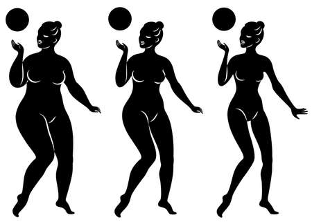Collection. Silhouette of a cute lady, she is engaged in rhythmic gymnastics with a ball. The woman is overweight and a slender girl athlete. Vector illustration set