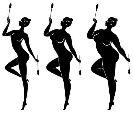 Collection. Silhouette of a cute lady, she does rhythmic gymnastics with clubs. The woman is overweight. Slender girl athlete. Vector illustration set