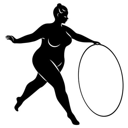Gymnastics Silhouette of a girl with a hoop. The woman is overweight, a large body. The girl is a full figure. Vector illustration Çizim