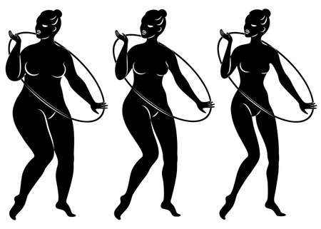 Collection. Silhouette of a cute lady, she is engaged in rhythmic gymnastics with a hoop. The woman is overweight and a slender girl athlete. Vector illustration set