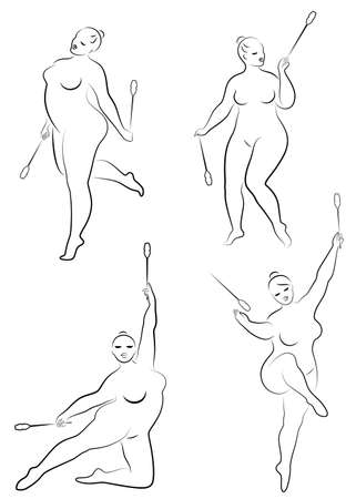 Collection. Gymnastics. Silhouette of a girl with a ribbon. The woman is overweight, a large body. The girl is full figured. Vector illustration set.