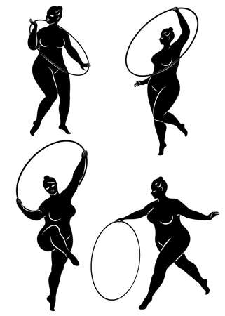 Collection. Gymnastics. Silhouette of a girl with a hoop. The woman is overweight, a large body. The girl is full figured. Vector illustration set Çizim
