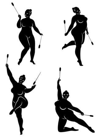 Sammlung. Gymnastik. Silhouette eines Mädchens mit einem Band. Die Frau ist übergewichtig, ein großer Körper. Das Mädchen ist vollfigurig. Vektor-Illustration-Set. Vektorgrafik