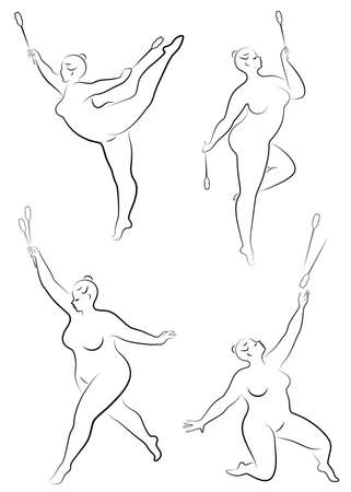 Collection. Gymnastics. Silhouette of a girl with a mace. The woman is overweight, a large body. The girl is full figured. Vector illustration set Illustration