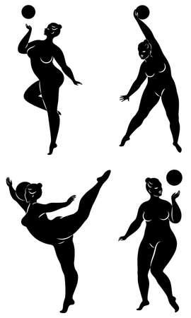 Sammlung. Gymnastik. Silhouette eines Mädchens mit einem Ball. Die Frau ist übergewichtig, ein großer Körper. Das Mädchen ist vollfigurig. Vektor-Illustration-Set.