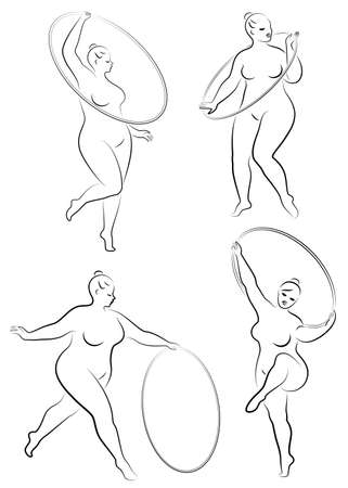Collection. Gymnastics. Silhouette of a girl with a hoop. The woman is overweight, a large body. The girl is full figured. Vector illustration set. Çizim