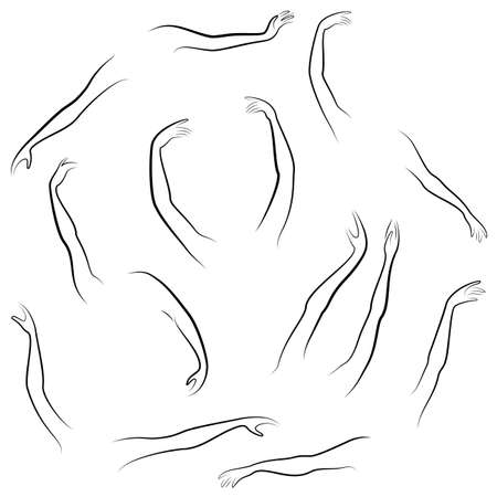 Women s hands. Beautiful graceful silhouettes. Collection. Vector illustration of a set.