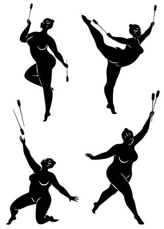 Collection. Gymnastics. Silhouette of a girl with a mace. The woman is overweight, a large body. The girl is full figured. Vector illustration set.