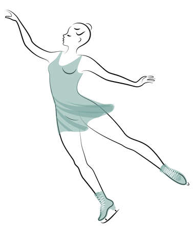 Skater skates on ice. The girl is beautiful and slender. Lady athlete, figure skater. Vector illustration Foto de archivo - 140089661