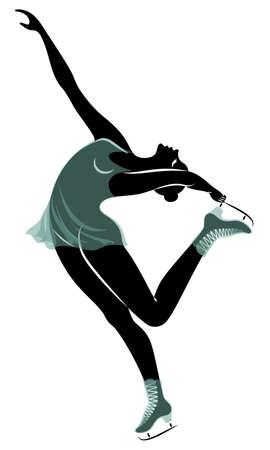 Skater skates on ice. The girl is beautiful and slender. Lady athlete, figure skater. Vector illustration Foto de archivo - 140089666
