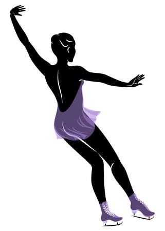 Skater skates on ice. The girl is beautiful and slender. Lady athlete, figure skater. Vector illustration