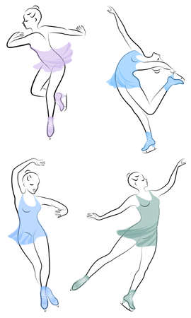 Collection. Skater skates on ice. The girl is beautiful and slender. Lady athlete, figure skater. Vector illustration of a set Çizim
