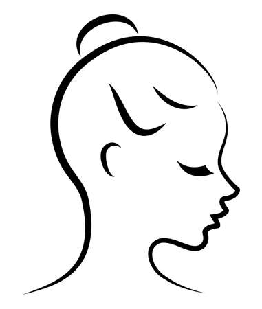 Silhouette of a sweet lady. The girl shows her hair on medium and long hair.