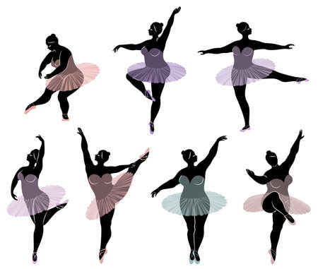 Collection. Silhouette of a cute lady, she is dancing ballet. Woman is overweight. The girl is plump and slim. Woman is ballerina, gymnast. Vector illustration set. Vettoriali