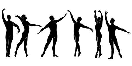 Collection. Silhouette of a slim guy, male ballet dancer. The artist has a beautiful slim figure, strong body. The man is dancing. Vector illustration set Vettoriali