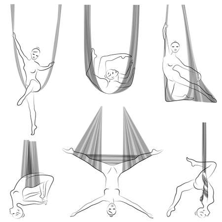 Collection. Fly yoga. Yoga on the hammock. Silhouette of a slender girl who goes in for sports, meditation. Good for your health. Vector illustration set