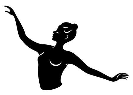 Lady silhouette. Silhouettes of the hands and head of a girl. Graceful woman. Vector illustration.