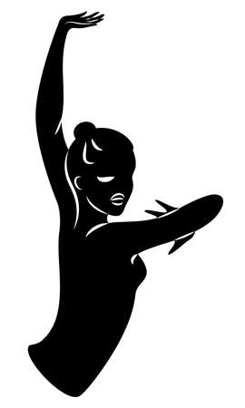 Lady silhouette. Silhouettes of the hands and head of a girl. Graceful woman. Vector illustration Vettoriali