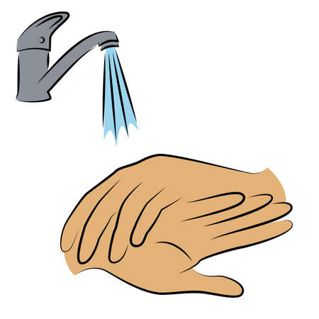 Wash hands with water under the tap. Hygienic procedure. disease prevention, good for health. Vector illustration