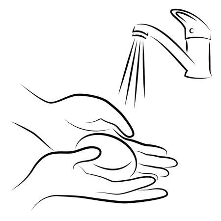 Wash hands with soap. Hygienic procedure. Disease prevention, good for health. Vector illustration