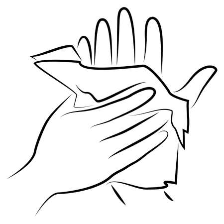 Rub your hands with a clean towel. Hygienic procedure. Disease prevention, good for health. Vector illustration. Çizim
