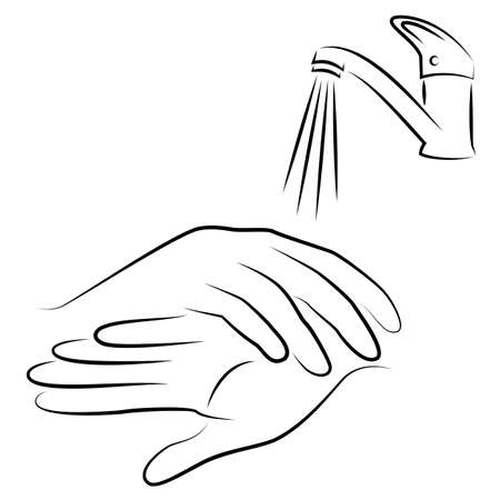 Wash hands with water under the tap. Hygienic procedure. disease prevention, good for health. Vector illustration. Çizim