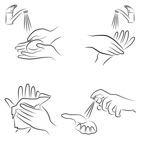 Hygiene procedure collection. Wash hands with soap under the tap, wipe with a napkin, antiseptic treatment. Vector illustration of a set. Çizim