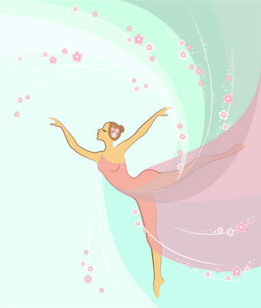 Silhouette of a cute lady. Romantic figure of a girl ballerina. The woman is slim and beautiful. Colored background. Vector illustration.