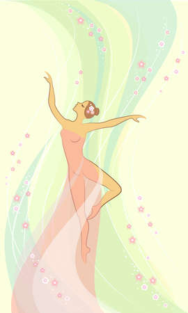 Silhouette of a cute lady. Romantic figure of a girl. The woman is slim and beautiful. Colored background. Vector illustration.