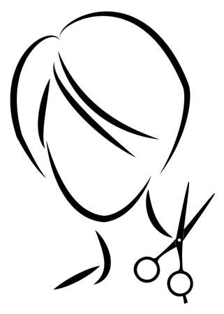 Silhouette of a cute lady. The girl shows a hairstyle on medium and short hair and scissors. Çizim