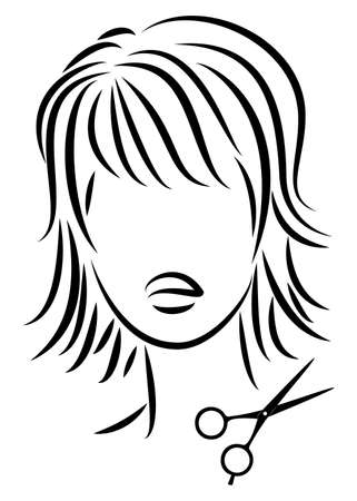 Silhouette of a cute lady. The girl shows a hairstyle on medium and short hair and scissors. Suitable for   hairdresser advertising. Vector illustration