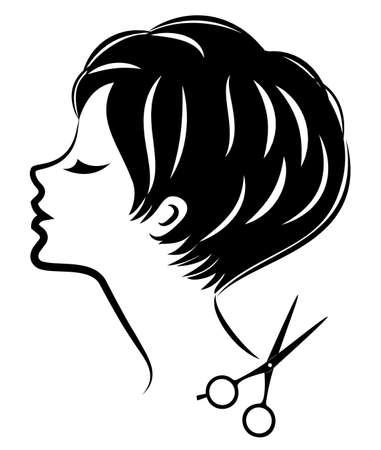 Silhouette of a cute lady. The girl shows a hairstyle on medium and short hair and scissors. 向量圖像