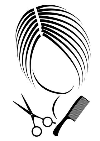 Silhouette of a cute lady. The girl shows a hairstyle on medium and long hair and scissors. Stok Fotoğraf - 147391680