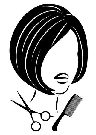 Silhouette of a cute lady. The girl shows a hairstyle on medium and long hair and scissors.