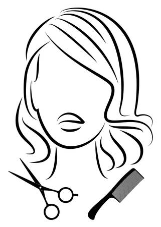 Silhouette of a cute lady. The girl shows a hairstyle on medium and long hair and scissors. 版權商用圖片 - 147823854