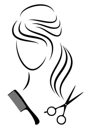 Silhouette of a cute lady. The girl shows a hairstyle on medium and long hair and scissors. 版權商用圖片 - 147823855
